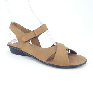 Sesto Meucci Brown Leather Open Toe Sandals